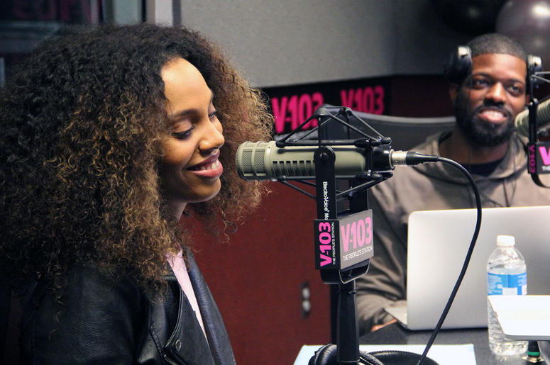 Jade Novah and JR of The Morning Culture smile during their first day on-air at V-103