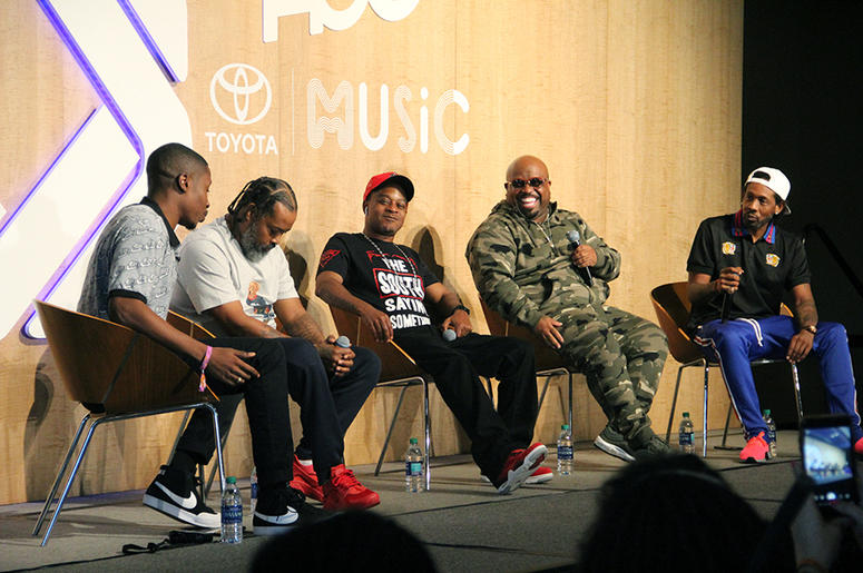 "Goodie Mob is interviewed by Jinx of Revolt TV's ""State of the Culture"" show at A3C in Atlanta on October 4, 2018"