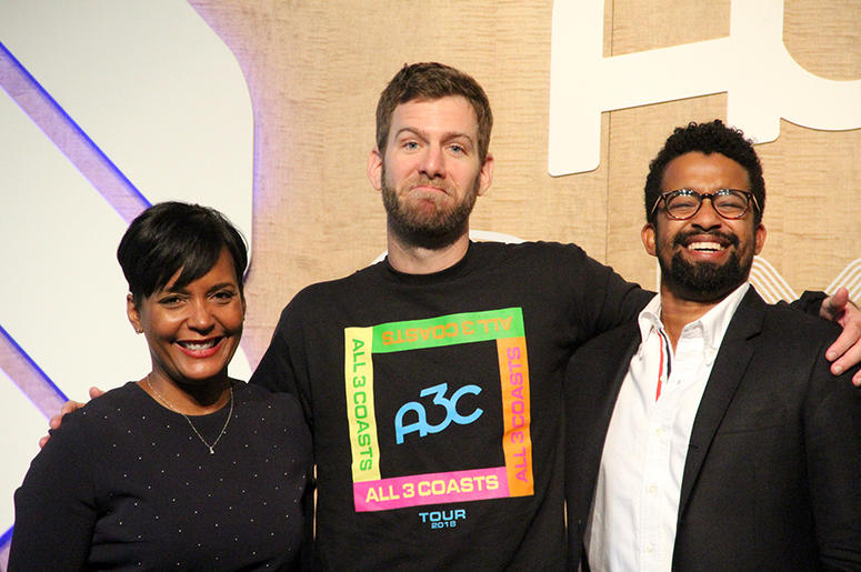 Atlanta mayor Keisha Lance Bottoms, A3C Executive Director Mike Walbert and writer Rembert Browne pose for photos after a brunch conversation at A3C in Atlanta, on October 4, 2018