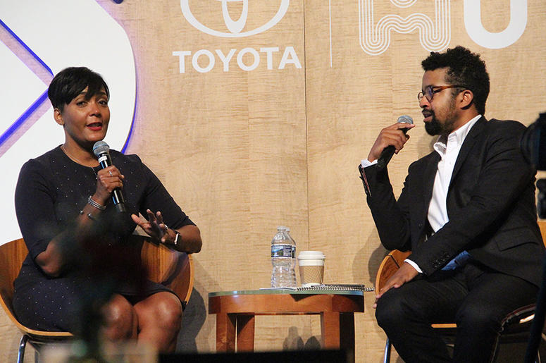 Atlanta mayor Keisha Lance Bottoms and writer Rembert Browne have a conversation at A3C in Atlanta, on October 4, 2018