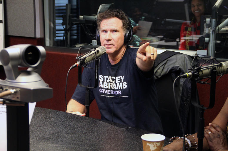 Will Ferrell visits V-103's Frank and Wanda In The Morning to endorse Stacey Abrams for governor of Georgia on October 26, 2018