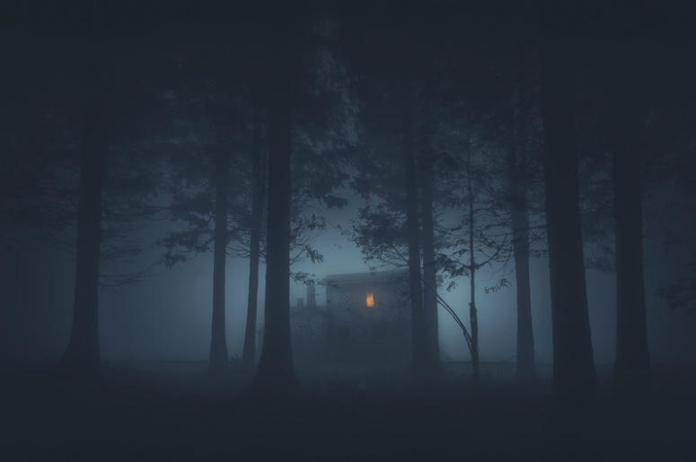 Scary house in mysterious horror forest at night