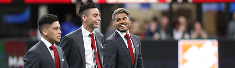 Atlanta United midfielder Ezequiel Barco, midfielder Miguel Almiron, and forward Josef Martinez