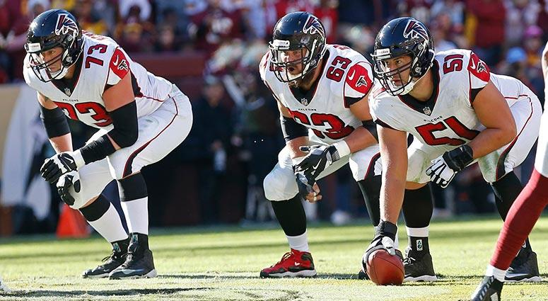 Atlanta Falcons center Alex Mack, offensive guard Ben Garland, and offensive tackle Ryan Schraeder