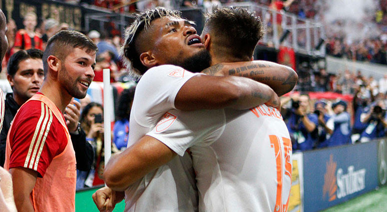 Atlanta United forward Hector Villalba with forward Josef Martinez