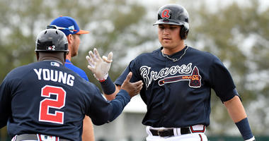 Can Austin Riley play in the outfield?