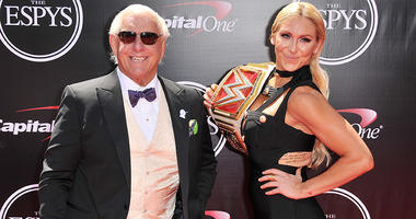 Ric Flair and WWE Diva Charlotte arrives at The 2016 ESPYS