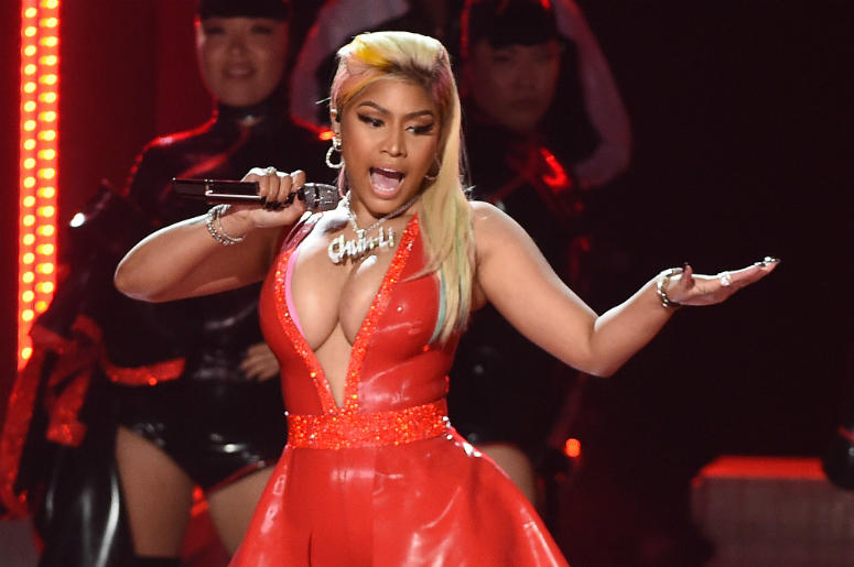 LOS ANGELES - JUNE 24: Nicki Minaj performs on the 2018 BET Awards at the Microsoft Theater on June 24, 2018 in Los Angeles, California.