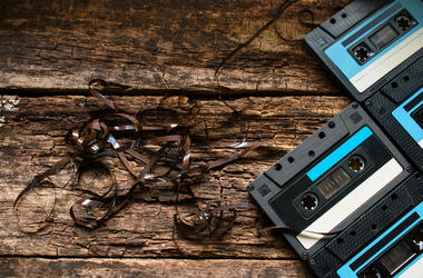Background of old cassettes and tapes