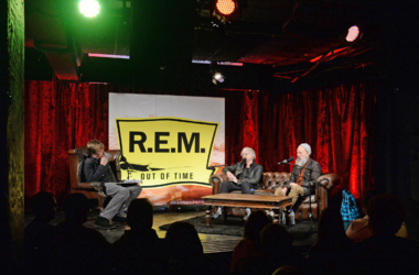 Mike Mills (centre) and Michael Stipe of R.E.M