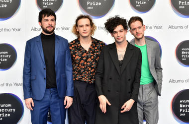 9/15/2016 - The 1975 (l-r Ross Macdonald, George Daniel, Matthew Healy, Adam Hann) arriving at the Mercury Prize 2016, held at the Eventim Apollo in Hammersmith, London.