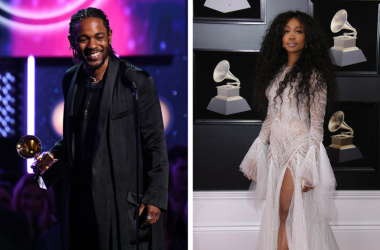 Kendrick Lamar accepts Best Rap Album during the 60th Annual Grammy Awards / SZA arrives at the 60th Annual Grammy Awards at Madison Square Garden.
