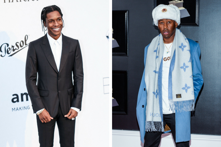 ASAP Rocky attends the amfAR Gala during the 2017 Cannes Film Festival on May 25, 2017 at Hôtel du Cap-Eden-Roc in Cap d'Antibes, France. / Tyler The Creator arrives at the 60th Annual GRAMMY Awards red carpet at Madison Square Garden in New York City, NY