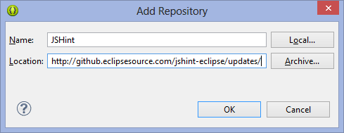 Install JsHint in Eclipse