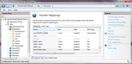 The Handler Mappings Page in Internet Information Server