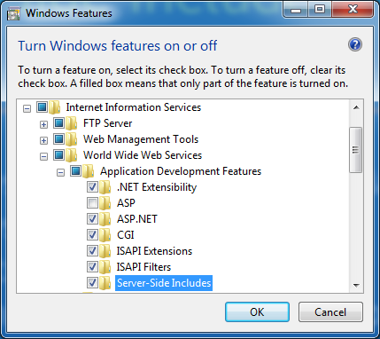 Turn on Server Size Include in IIS