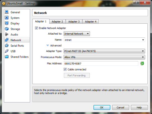 Setting up the internal network no-size