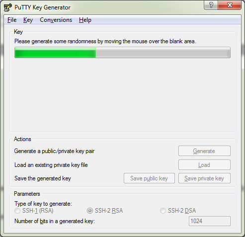 Generate a public private key pair with Putty