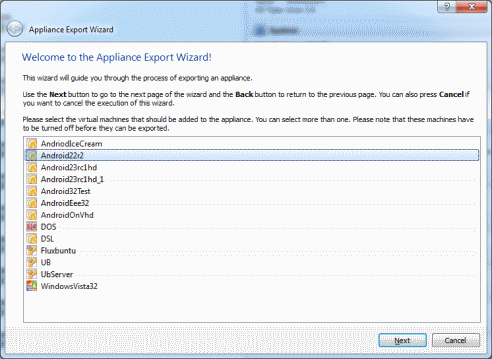 Export from VirtualBox no-size
