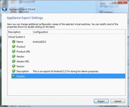 VirtualBox Export final screen no-size