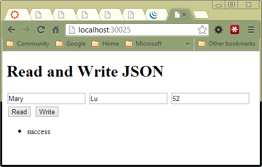 The SimpleReadWriteJson Program