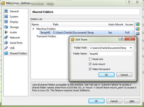Shared Folders Linux VM in Windows Host