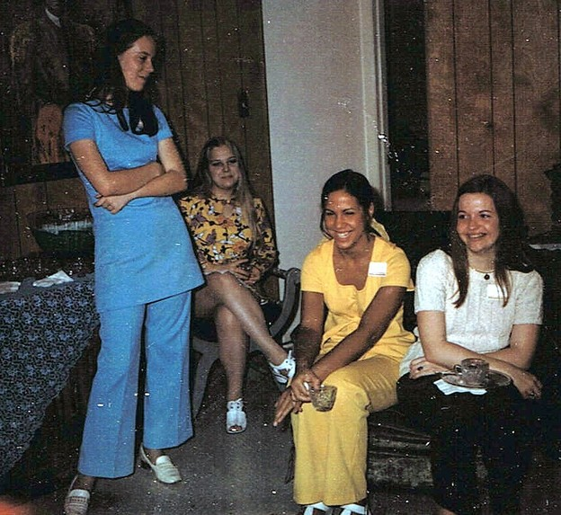 Julie (in blue) with Debbie Allen, Christie Smith, and Jan Barnhill - May 8, 1971