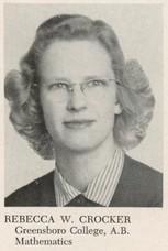 A. Rebecca (Whitener) Crocker (1953 Math)