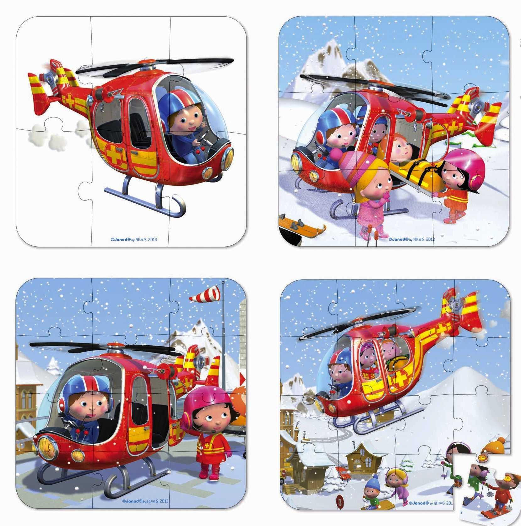Rompecabezas Pierre Y Su Helicóptero  4x1