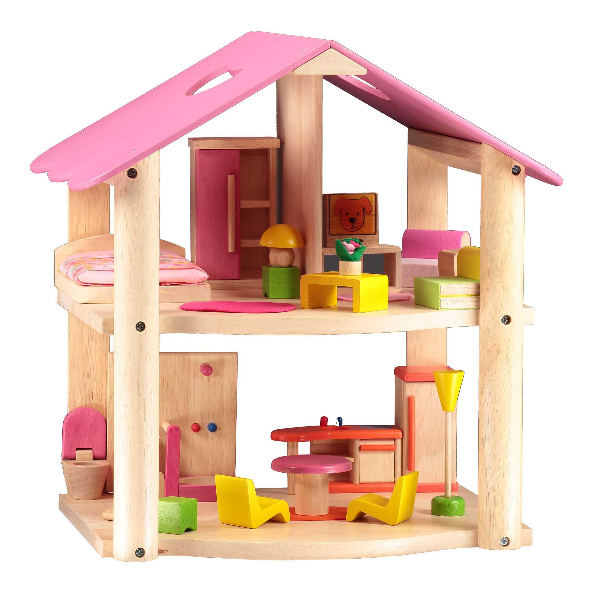 Pequeña Casa Rosada Con Mobiliario