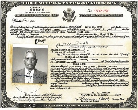 Jiwan Singh, Certificate of Naturalization | South Asian American ...