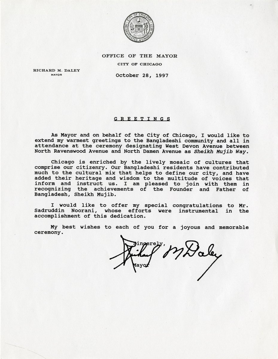 Letter From Mayor Richard M Daley Re Sheikh Mujib Way South