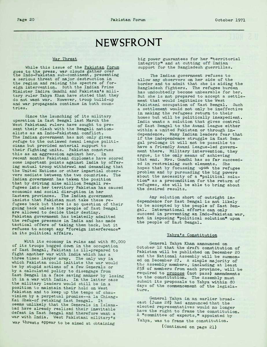 Pakistan Forum Vol  II, No  1 | South Asian American Digital Archive