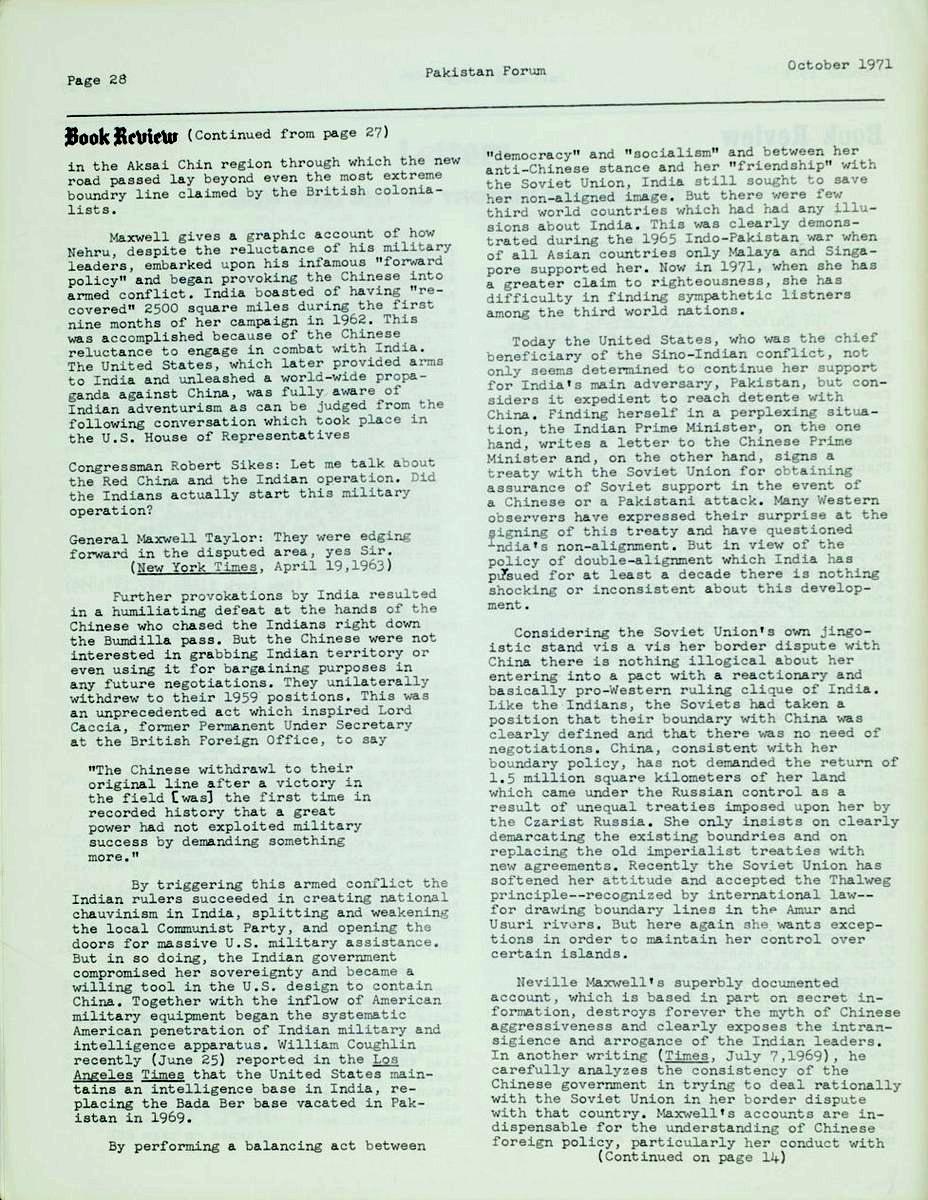 Pakistan Forum Vol  II, No  1   South Asian American Digital Archive