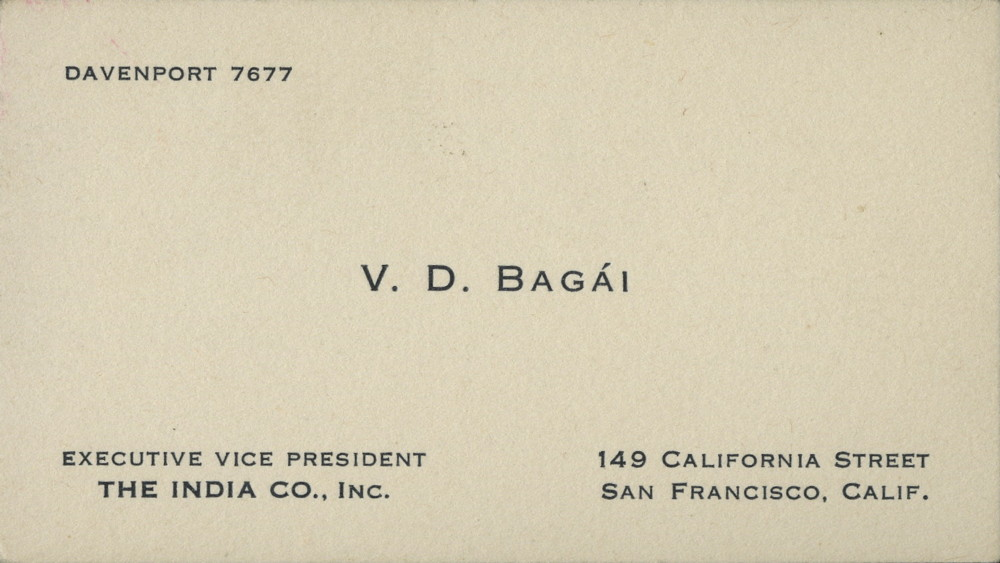 Business Card of Vaishno Das Bagai | South Asian American Digital ...