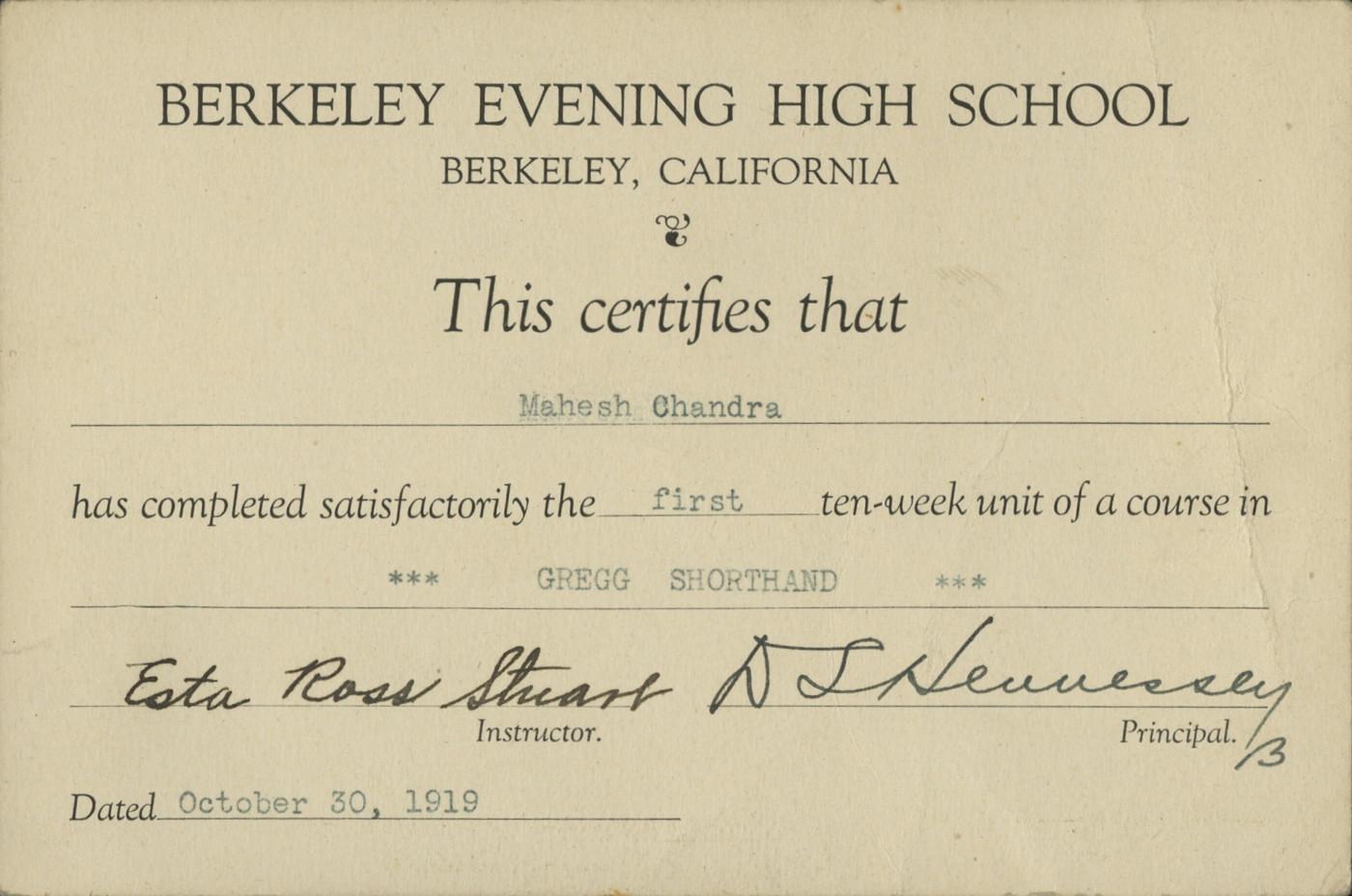 Berkeley Evening High School Certificate for Mahesh Chandra ...