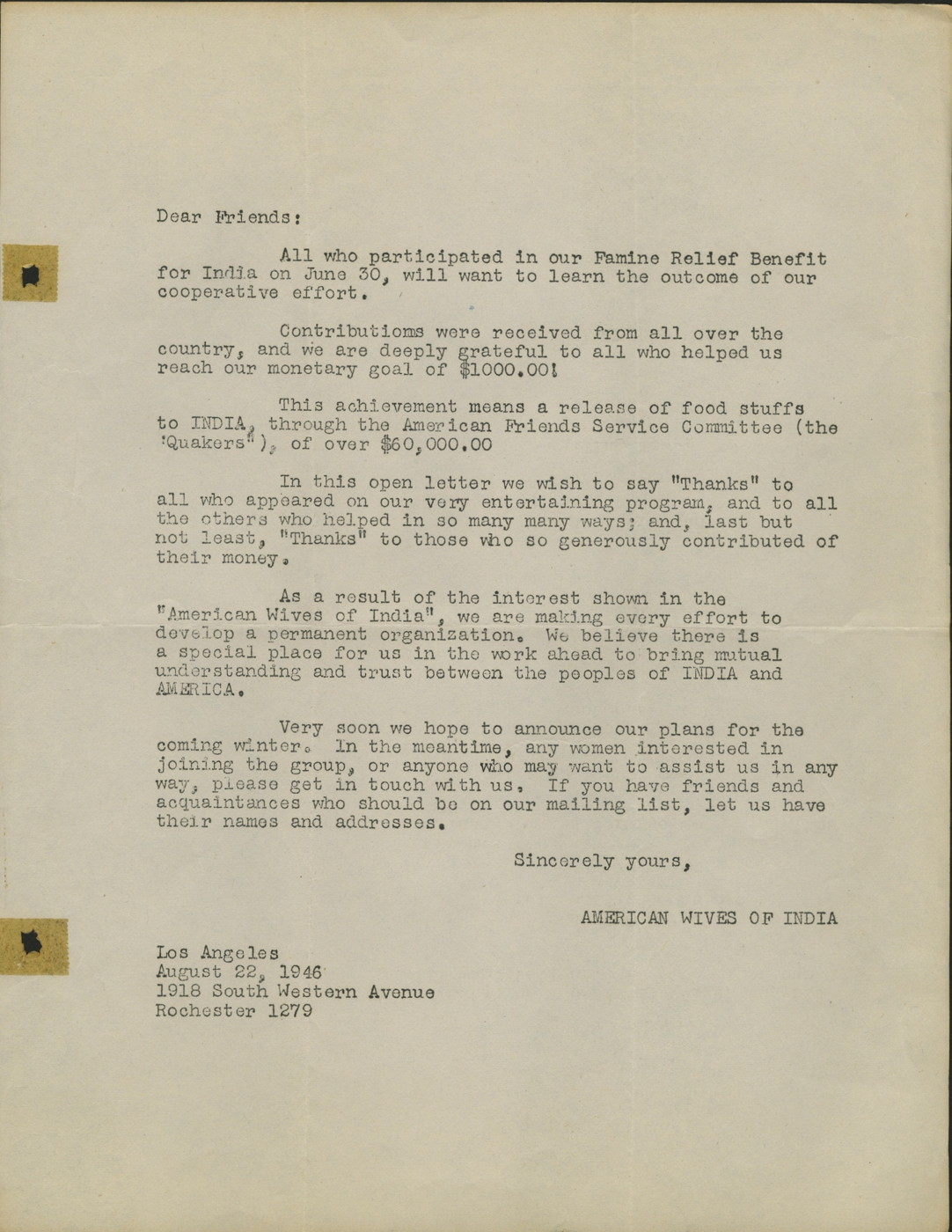 Letter from American Wives of India Regarding Famine Relief