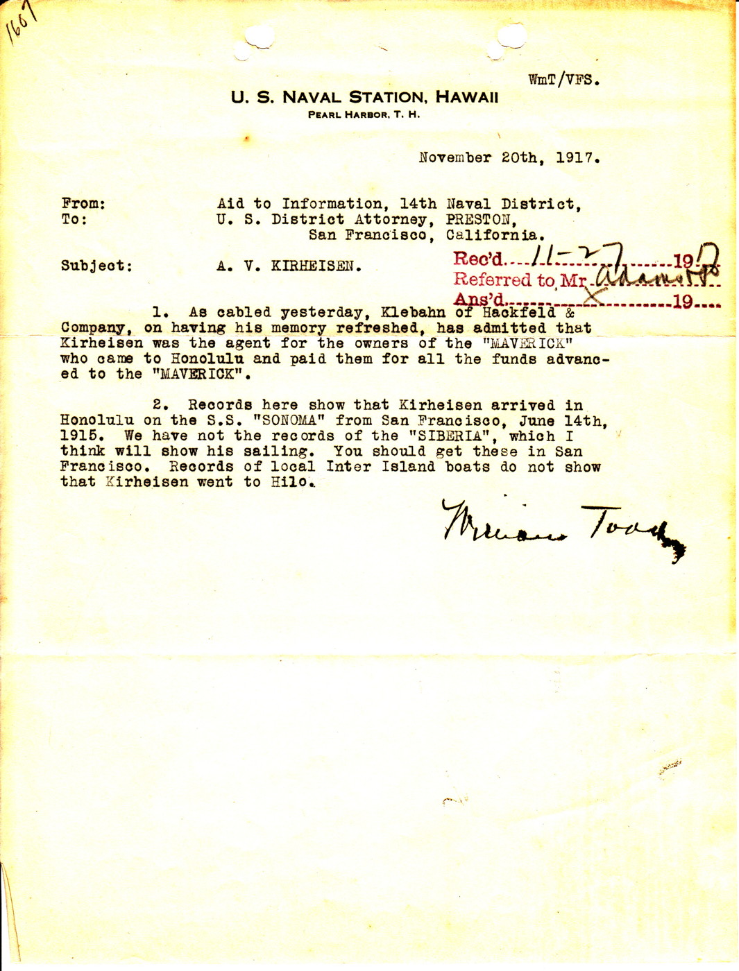Letter from Aid to Information, 14th Naval District to U S