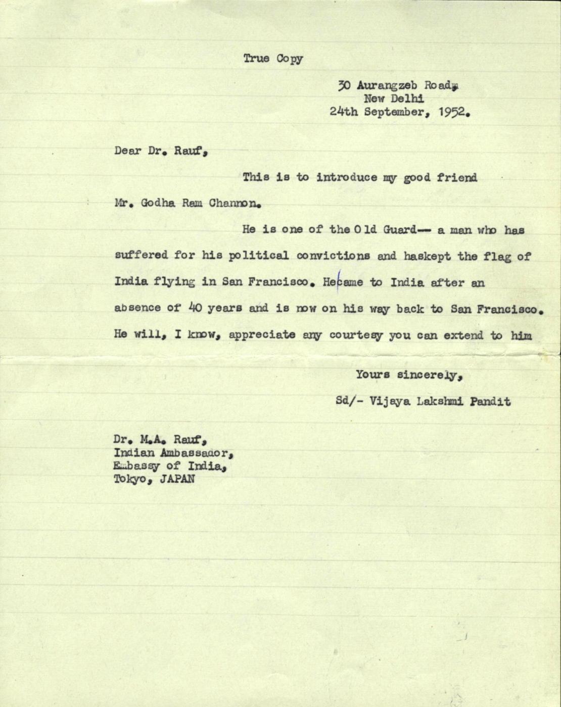 Letter from vijaya lakshmi pandit to ma rauf south asian letter from vijaya lakshmi pandit to ma rauf thecheapjerseys Gallery