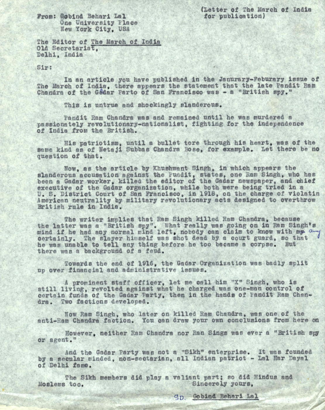 Letter From Gobind Behari Lal To Editor Of The March Of India