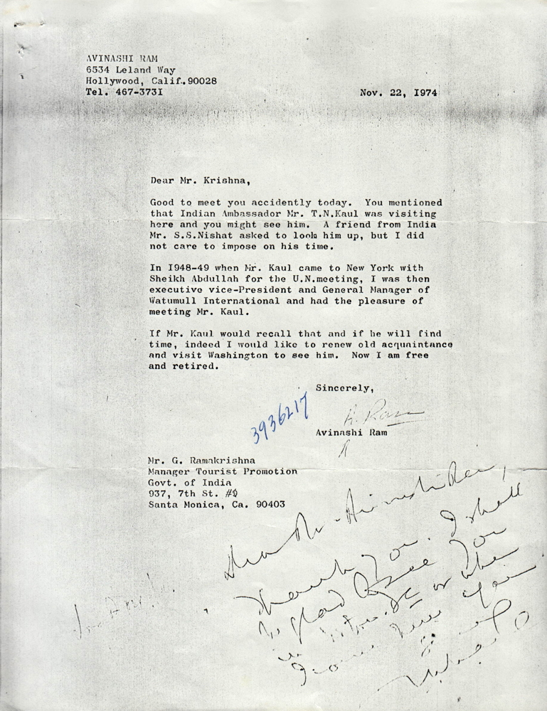 Letter from abnashi ram to g ramakrishna south asian american letter from abnashi ram to g ramakrishna spiritdancerdesigns Image collections