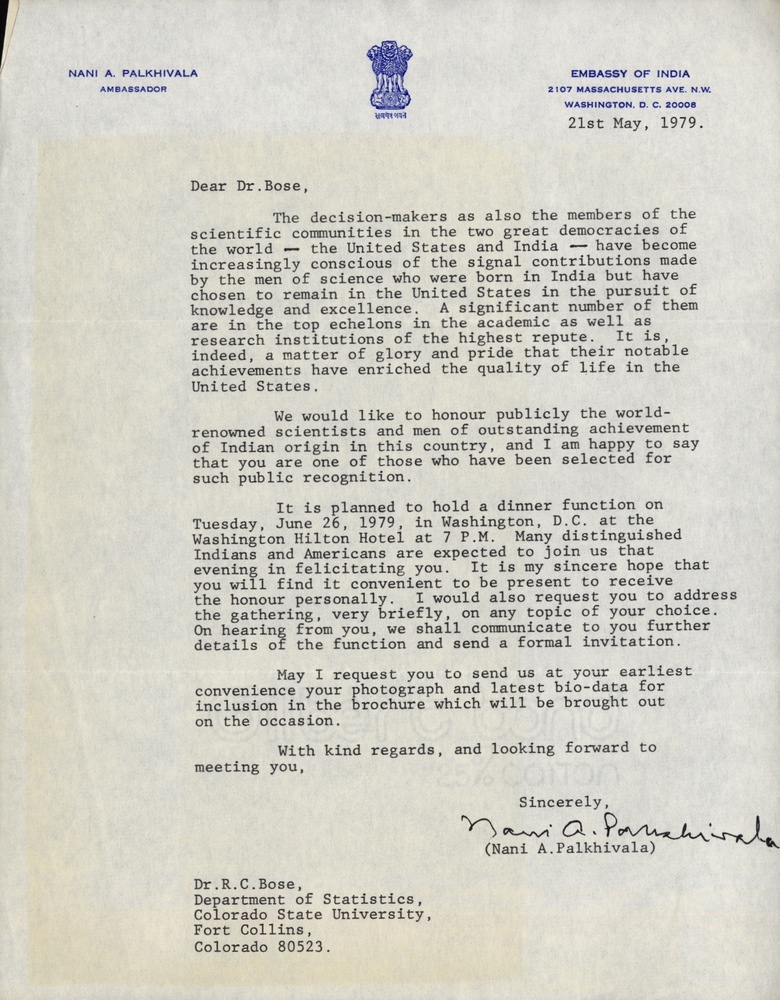 Letter From Nani A Palkhivala To Dr Rc Bose South Asian