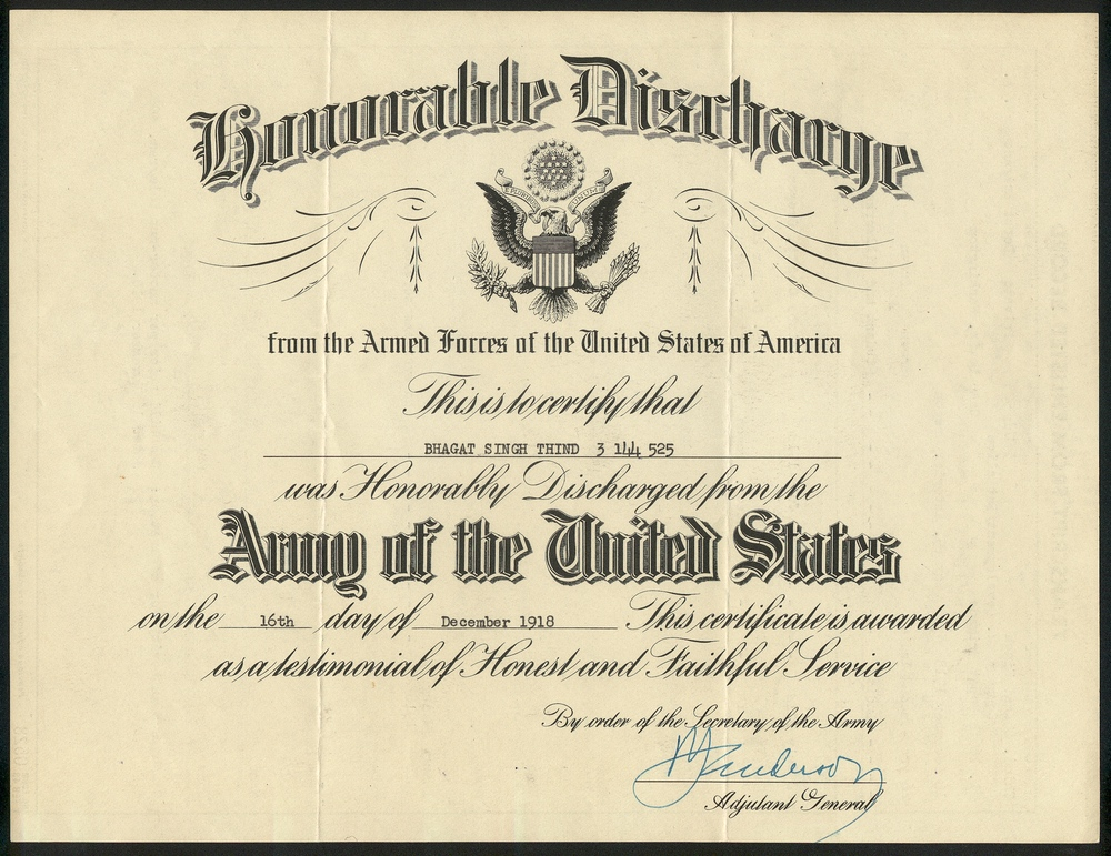 Certificate Of Honorable Discharge For Bhagat Singh Thind South