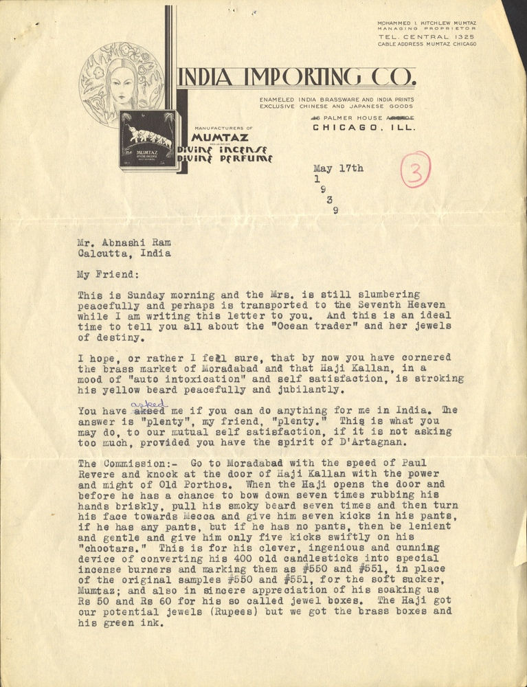 Letter from Mumtaz Kitchlew to Abnash Ram   South Asian