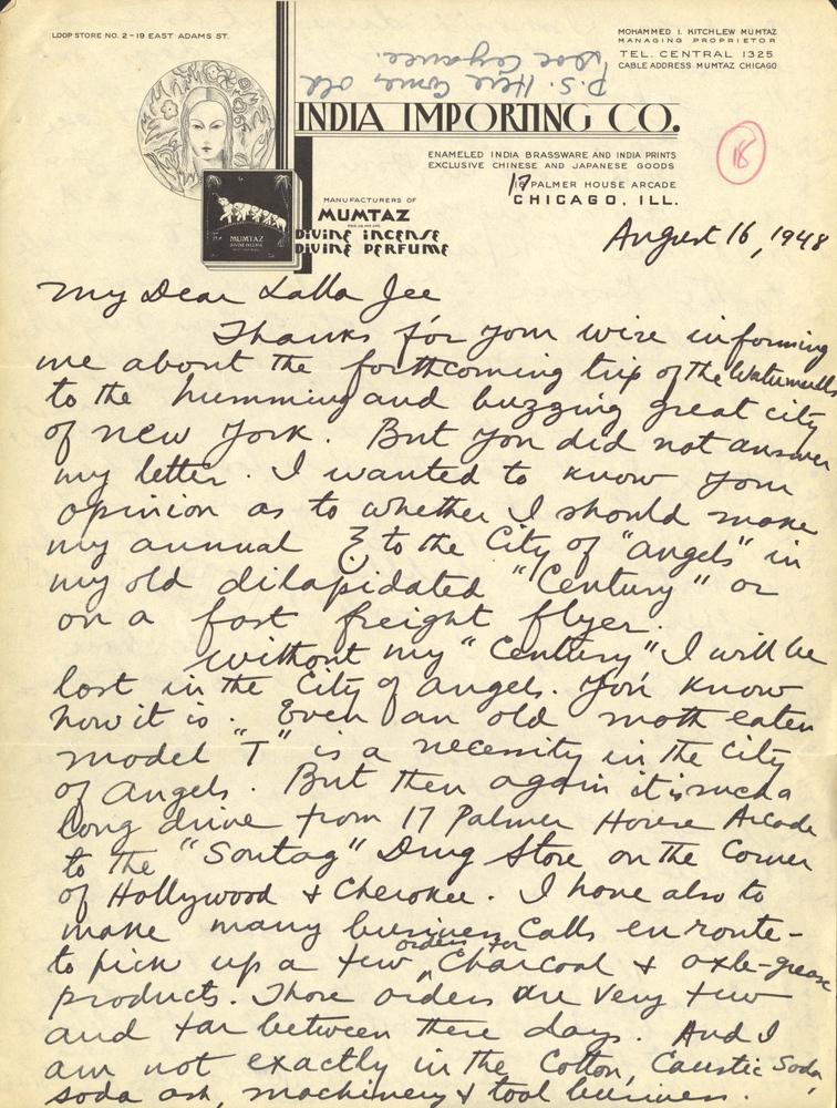 Letter from Mumtaz Kitchlew to Abnashi Ram   South Asian