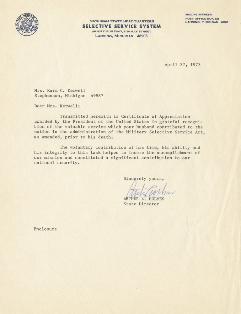 letter from selective service system to mrs karm c kerwell
