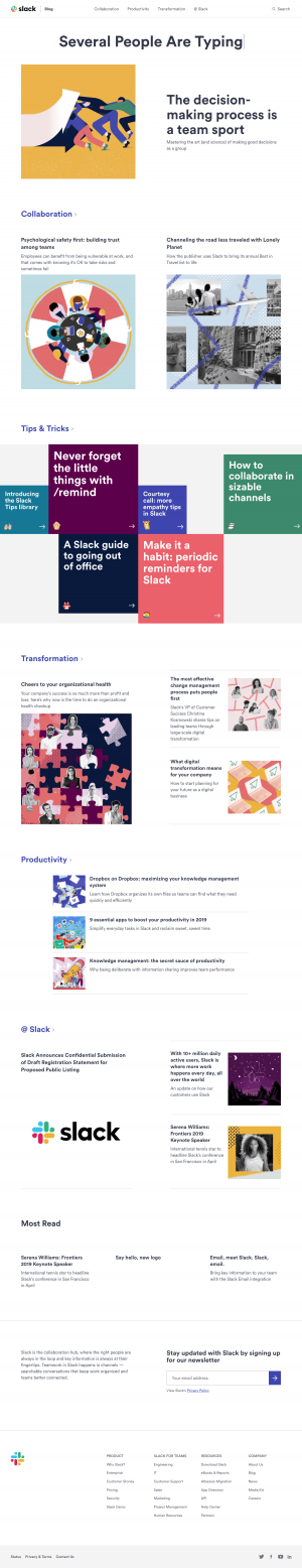 Blog page inspiration slack