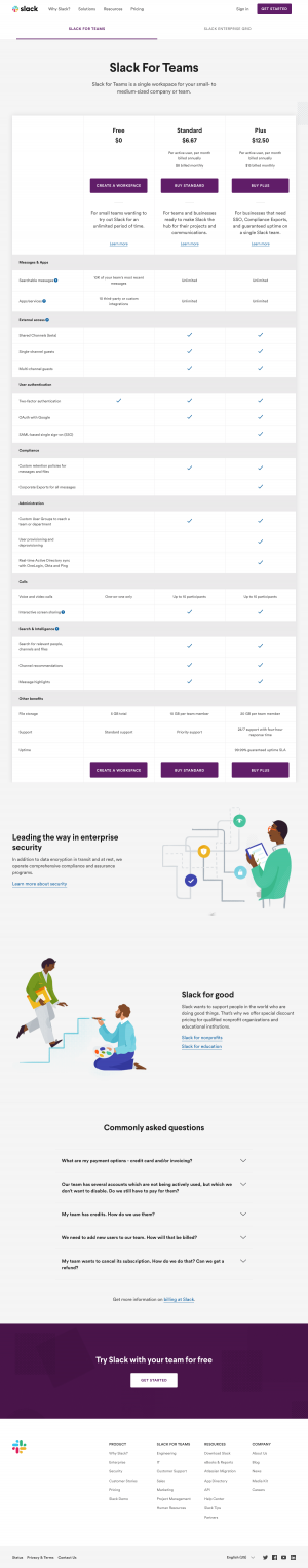 Pricing page inspiration - Slack