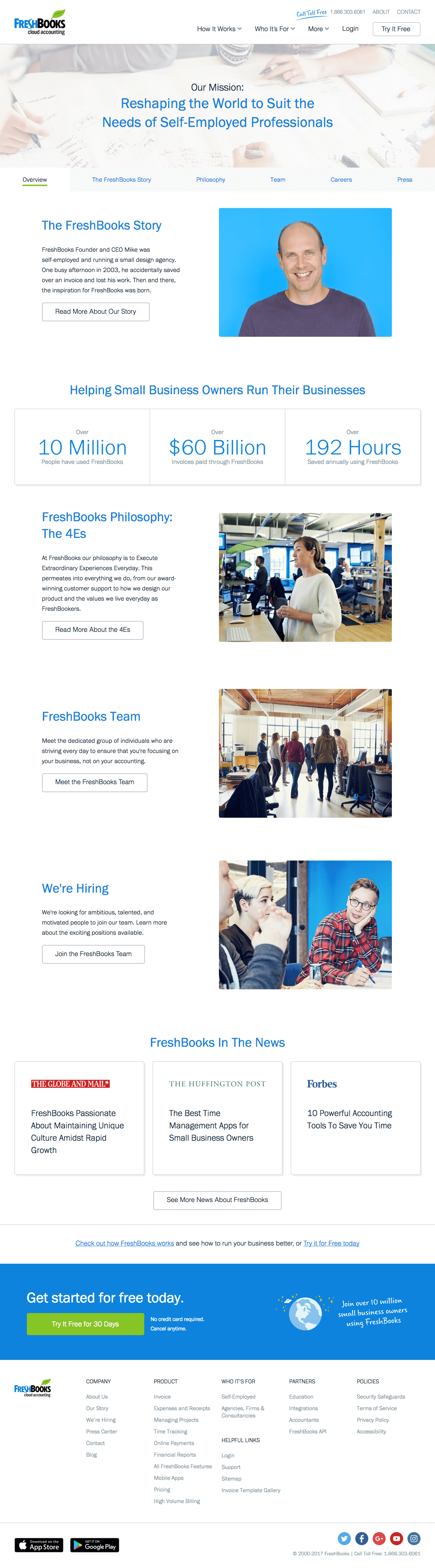 About us page inspiration - saas FreshBooks
