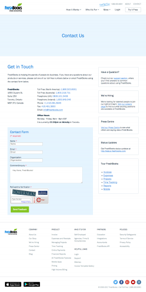 Contact page inspiration - saas FreshBooks